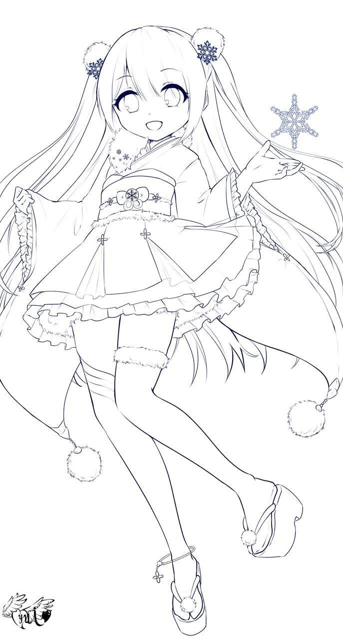 フリー線画! Illust of 夢羽 結 medibangpaint original girl winter 塗り絵 line_art フリー線画 ぬりえ snow