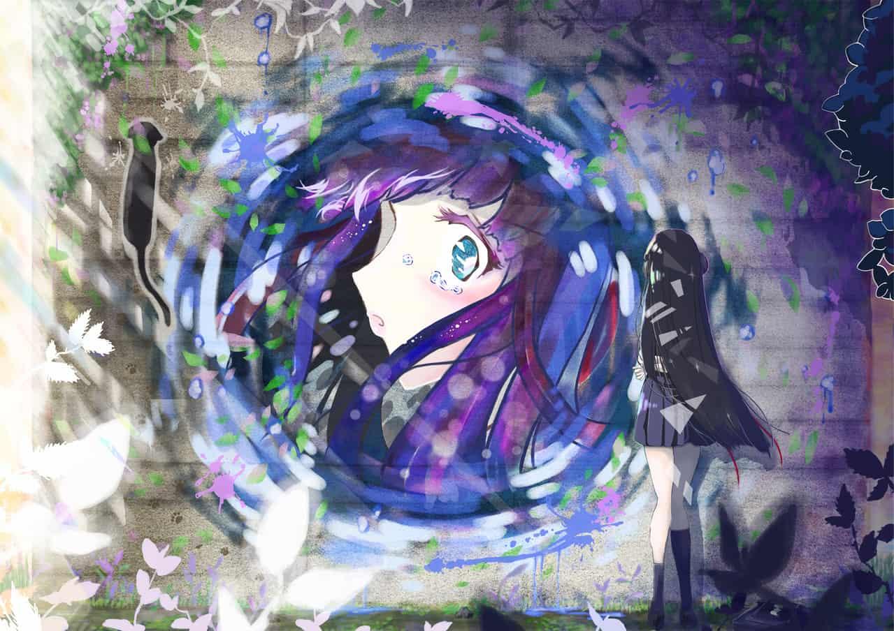 心が映る壁 Illust of 八零(ハチゼロ) June2020_Contest:Street_Art 女子高生 泣き顔