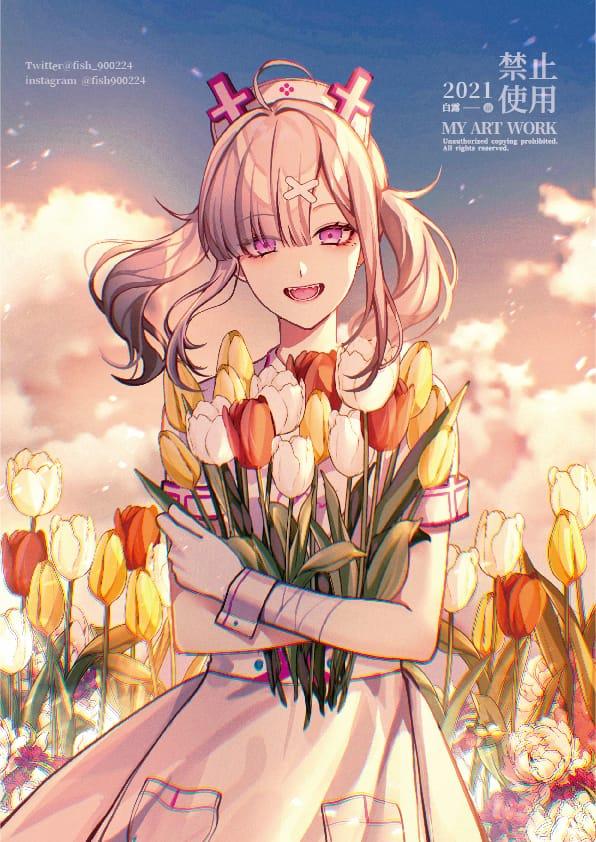 健屋花那 Illust of 白露 woman girl にじさんじ flower sky 健屋花那 virtual_YouTuber