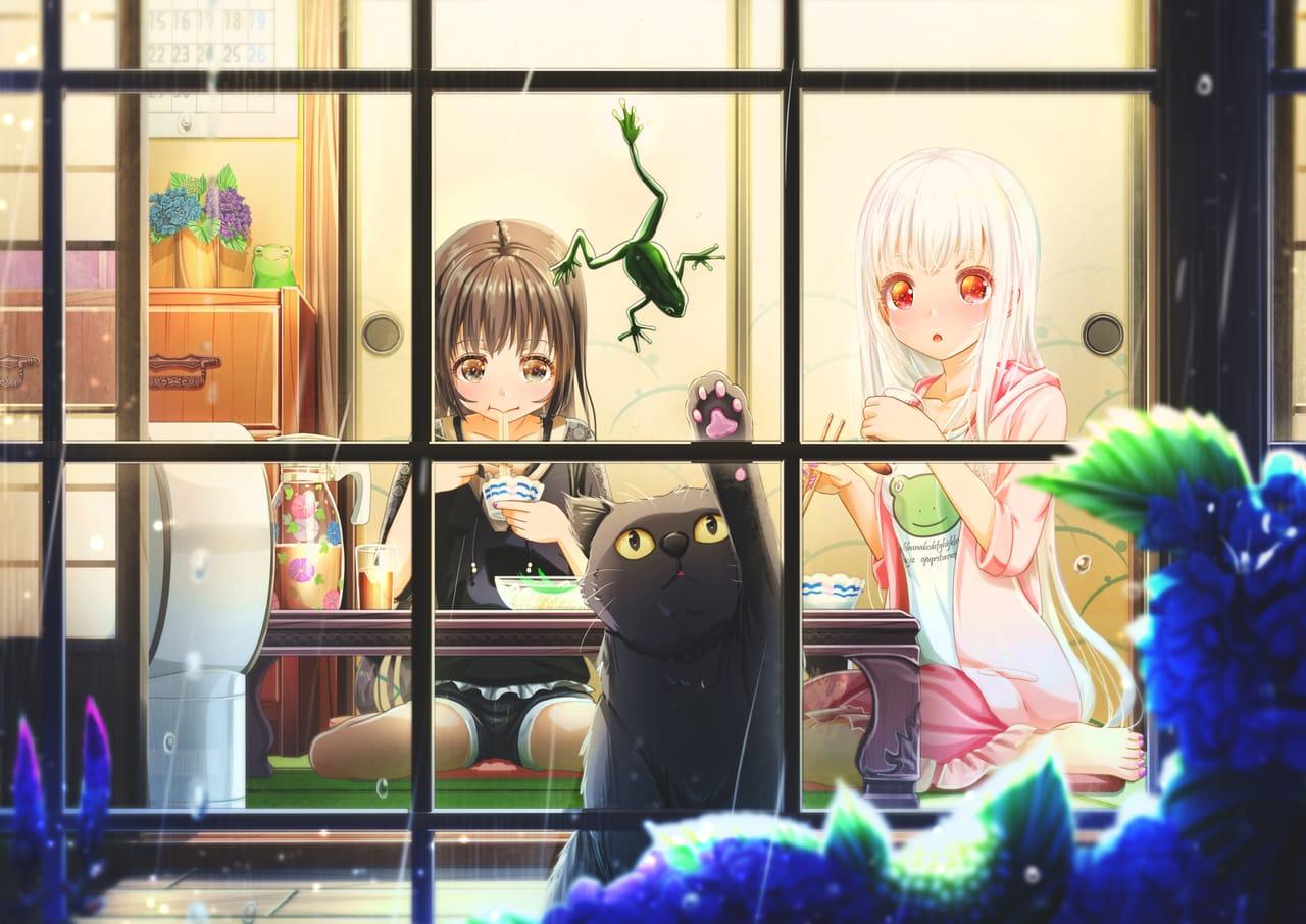 千客万来。  Illust of あいうあぼ original cat Frog girl