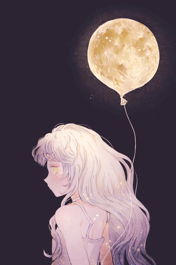 月明かり Illust of 緑乃 original girl Balloon moon