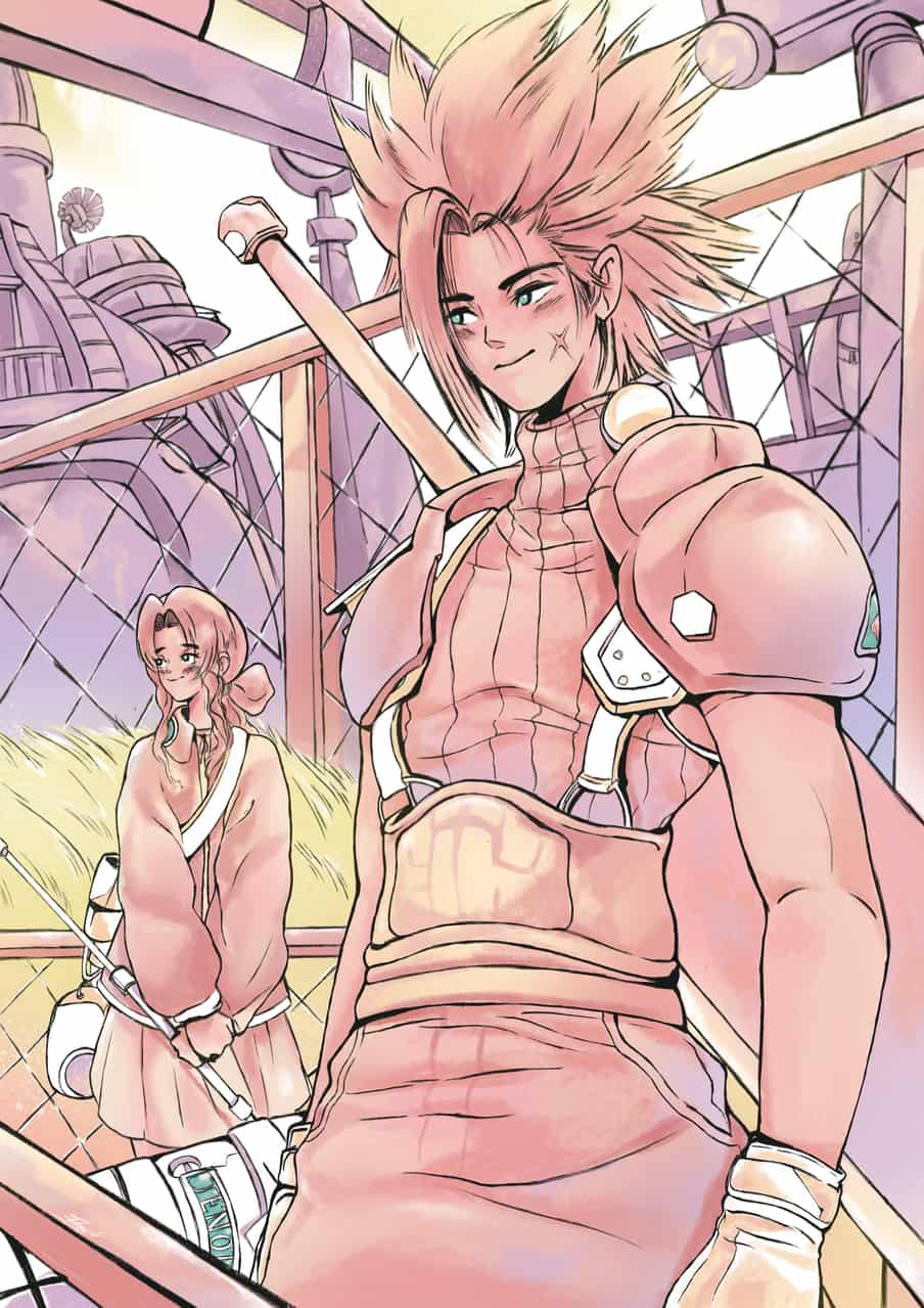 The flower girl and The Soldier Illust of Jojodoboro Aeris FINAL_FANTASY Jenova FINALFANTASYⅦ aerith FINALFANTASYVIIREMAKE zackfair