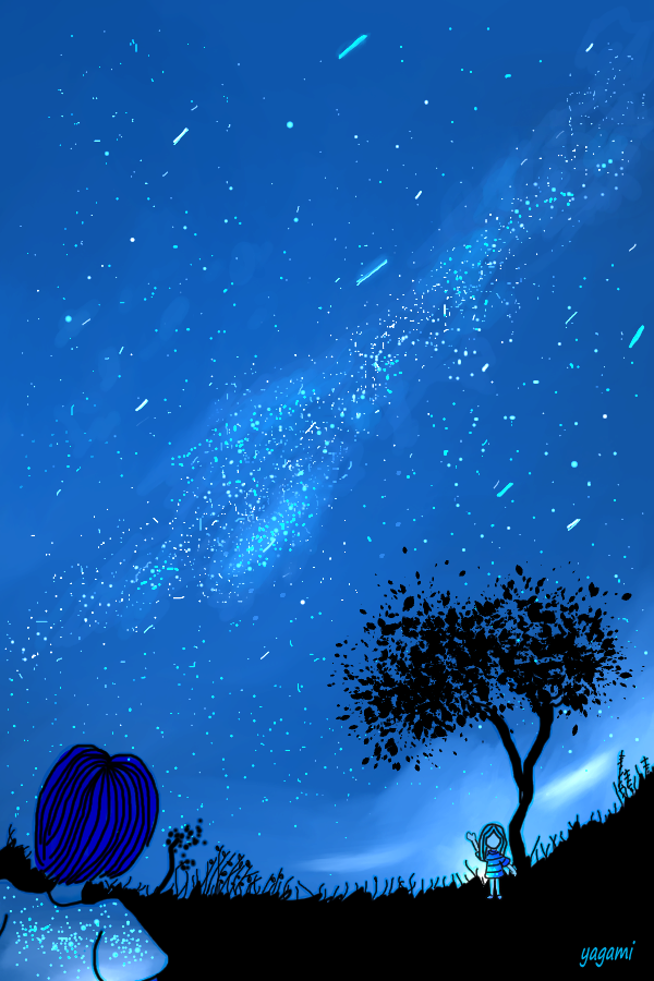 夜空 Illust of 八神 奏 Post_Multiple_Images_Contest 夜空 sky star night original black