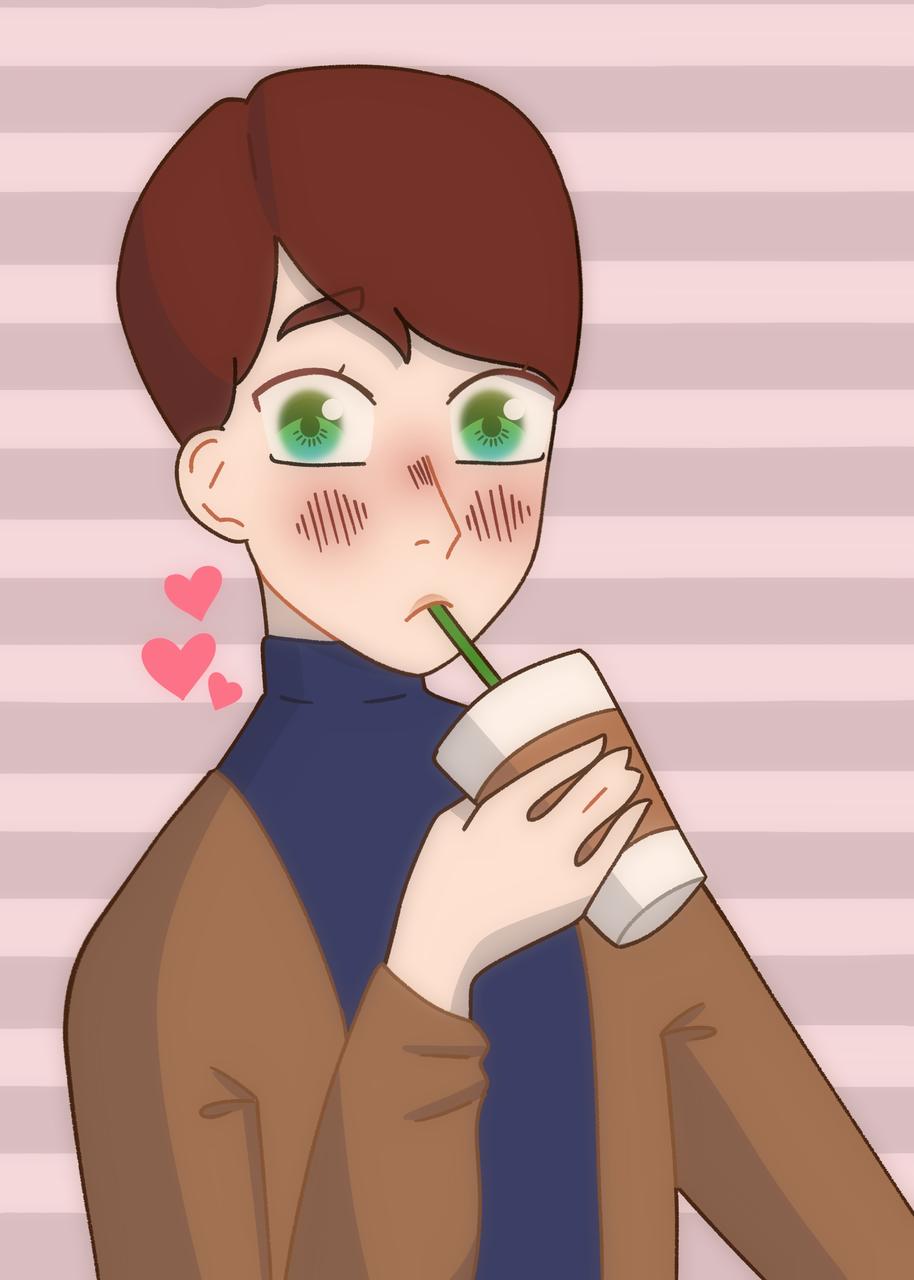 Coffee Boy Illust of 🔷 Moon 🔷 medibangpaint cute coffeeboy test brown boy hearts blue coffee heart