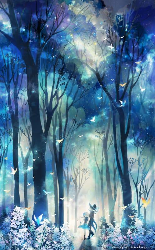 blue forest Illust of 明月亭 fantasy forest scenery original blue background