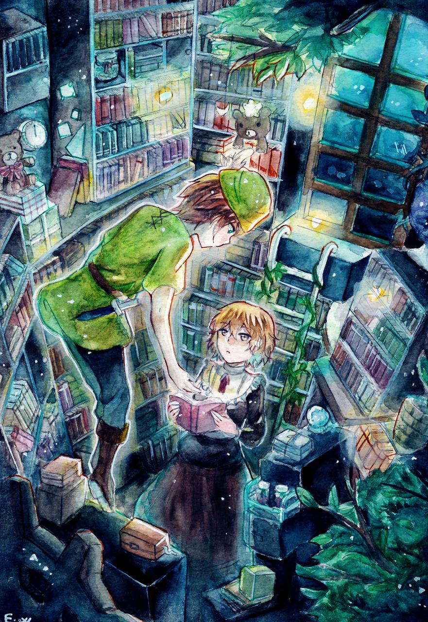 Underwater library Illust of ellianwarner ArtToPaper2017