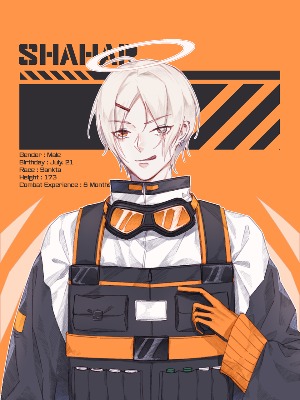 ArknightsOC : SHAHAR Illust of 十四 | TOYO medibangpaint orange original sankta boy techwear