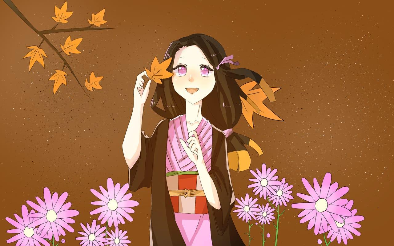 秋桜 Illust of おみそ#田舎同盟 CLIPSTUDIOPAINT girl KimetsunoYaiba autumn illustration fanart KamadoNezuko コスモス flower