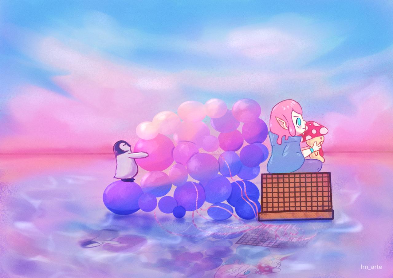Ballons Illust of lrnart97 medibangpaint medibangpaint5000 colorful girl ballon Penguin celebration