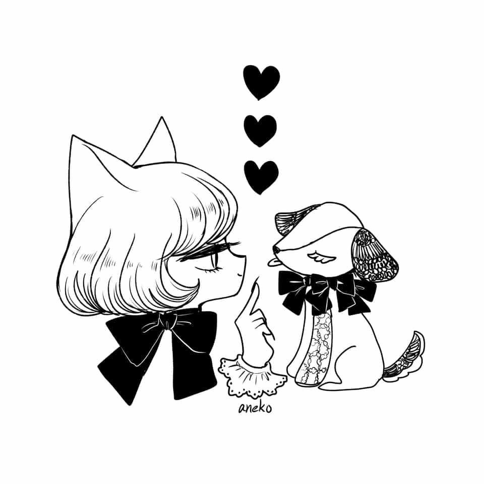 day 1 - 犬 Illust of aneko cat_ears レッツワンドロ monochrome original 女の子イラスト medibangpaint
