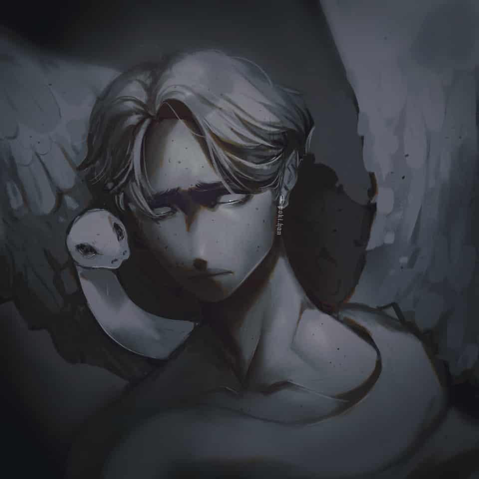 Fallen angel  Illust of poki.han Beautiful painting Darkangel snake Evil angel Fallen Angels