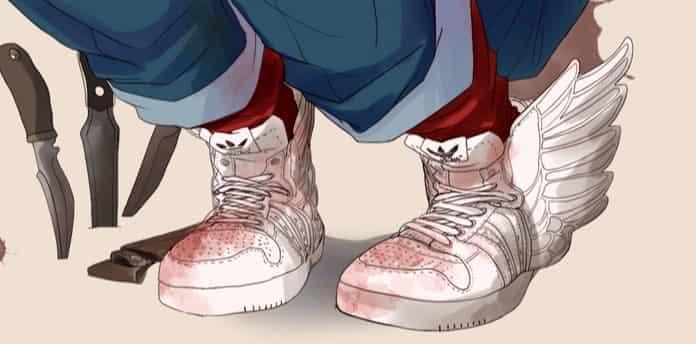 adidas JS ウィング2.0 ジェレミースコット ホワイト Illust of syu おとこのこ boy 靴 oc Adidas