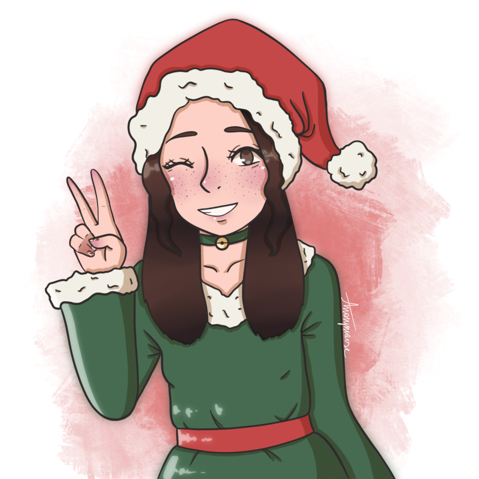 okay I added the freckles  Illust of AnonymouseSaysHoooi Holiday Christmas finished gift eh dress hat