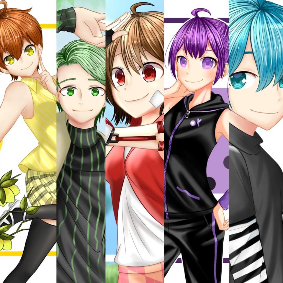 Illust of 黒や boy girl oc anime rainbow