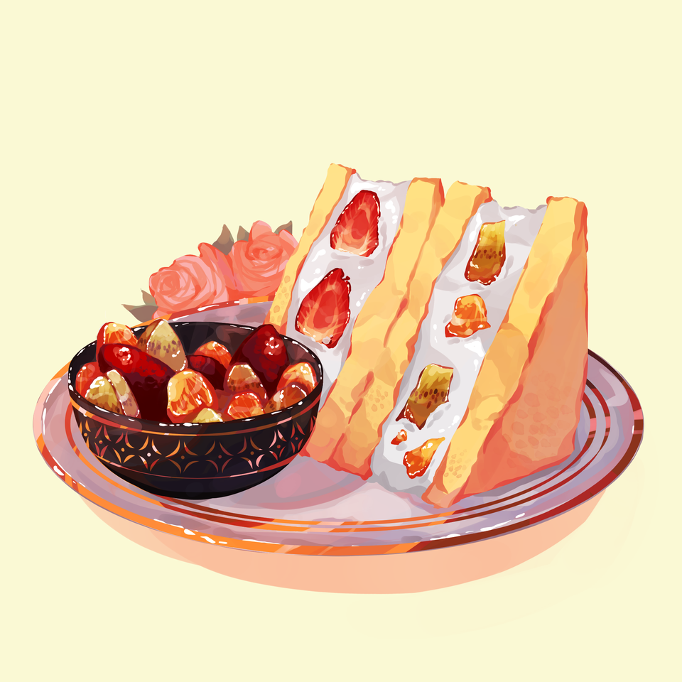 Strawberry Sandwich with Fruit Illust of Mumechi cute illustration food commission art iPad_raffle artist