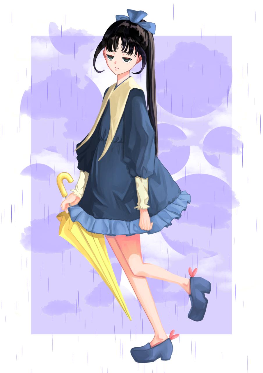 雨 Illust of ハン January2021_Contest:OC rain girl 藍色 original