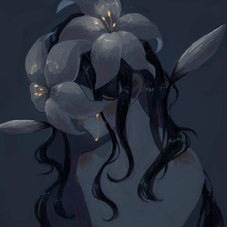 鬱鬱少女 Illust of 路人 April2021_Flower medibangpaint girl flower blue