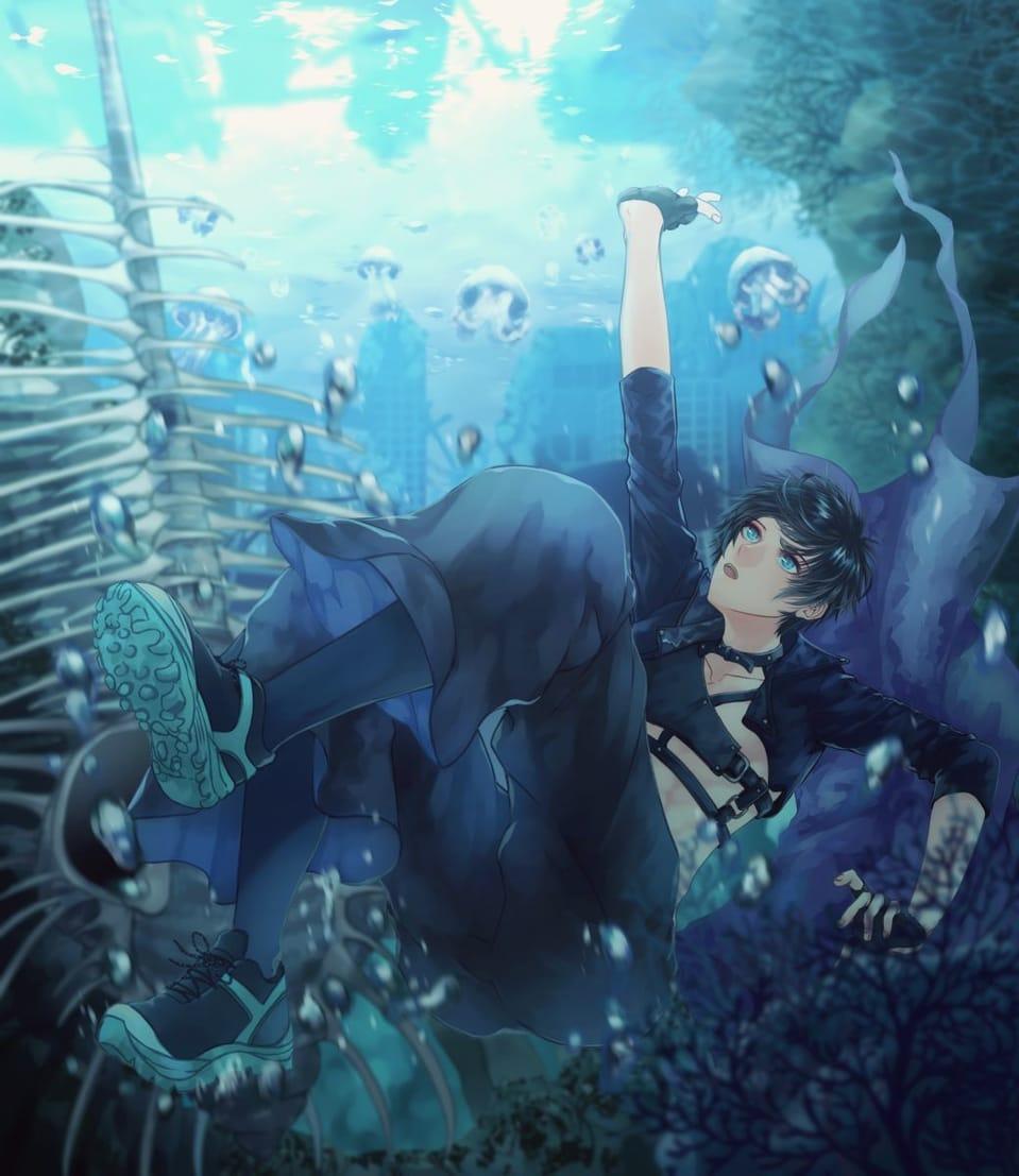 海の底へ Illust of すとっぱ sea original boy