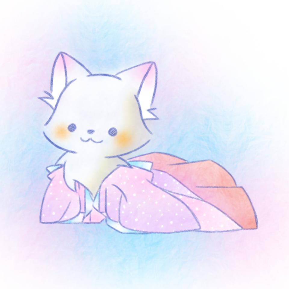 和服。 Illust of 兎卯子 kimono animal 小動物 fox original Japanese_style 白狐 digital