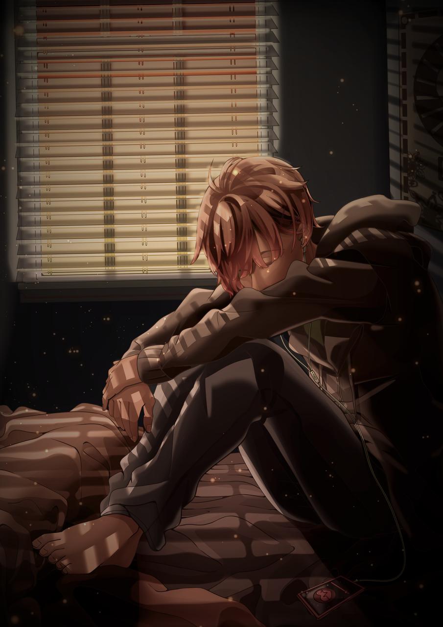 evening Illust of Akira Luca dark art sitting light digital hoodie MyArt brown boy