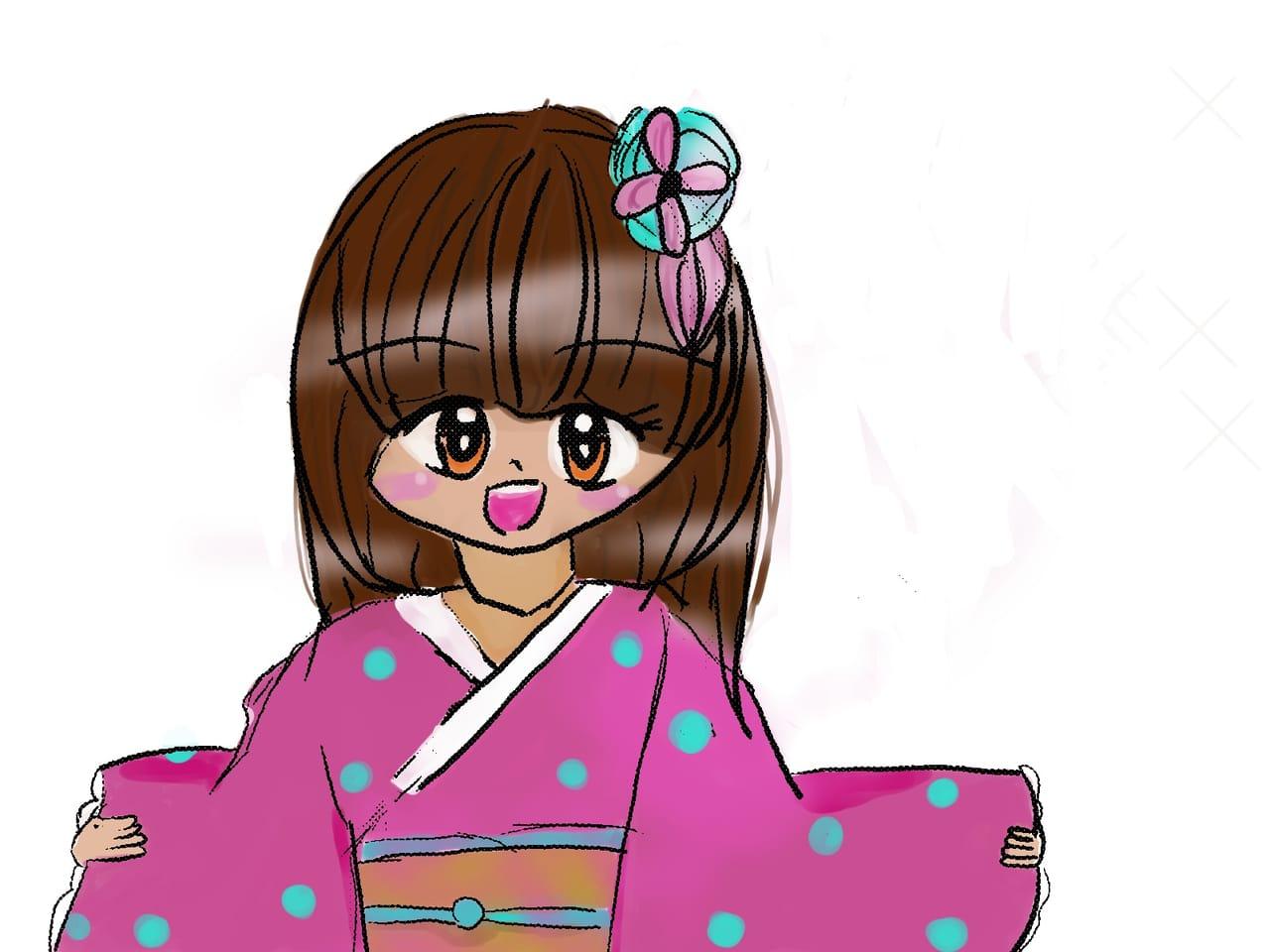 初めてデジタルで描いたやつ Illust of れもん#お味噌汁崇拝 メディバンペイント kimono 初描き digital girl kawaii