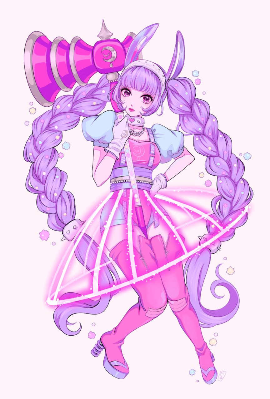 moon rabbit Illust of しずか illustration 魔法少女 ゆめかわいい pink girl original