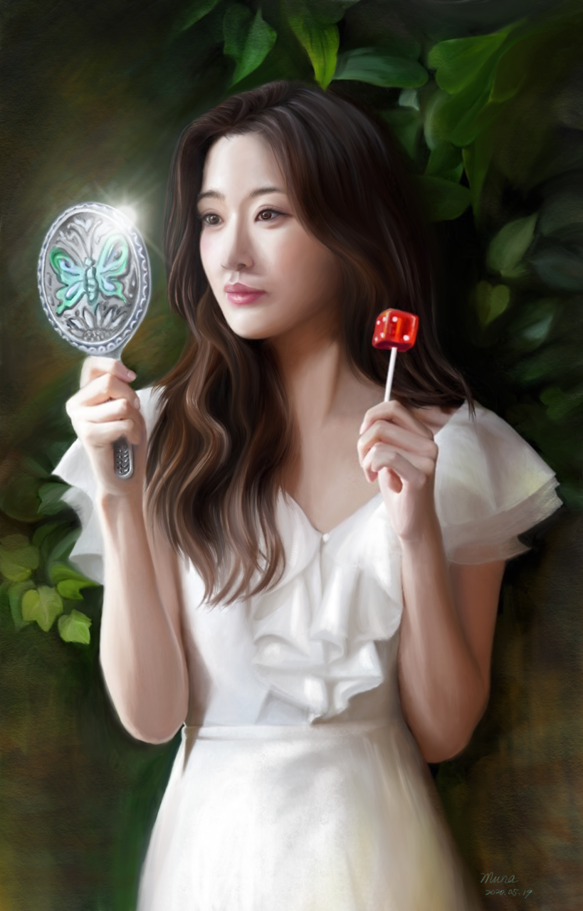 butterfly mirror 手持蝴蝶鏡子的女人 | 愛畫畫的沐娜 Illust of muna May.2020Contest:Cheering April.2020Contest:Color ARTstreet_Ranking illustration girl dress woman summer green digital