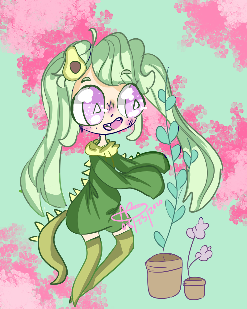 gift for xXgrassy_avacodoxX :D Illust of boiledsunflowers pink Artists_Unite girl avacado kawaii art dragon gothic green oc