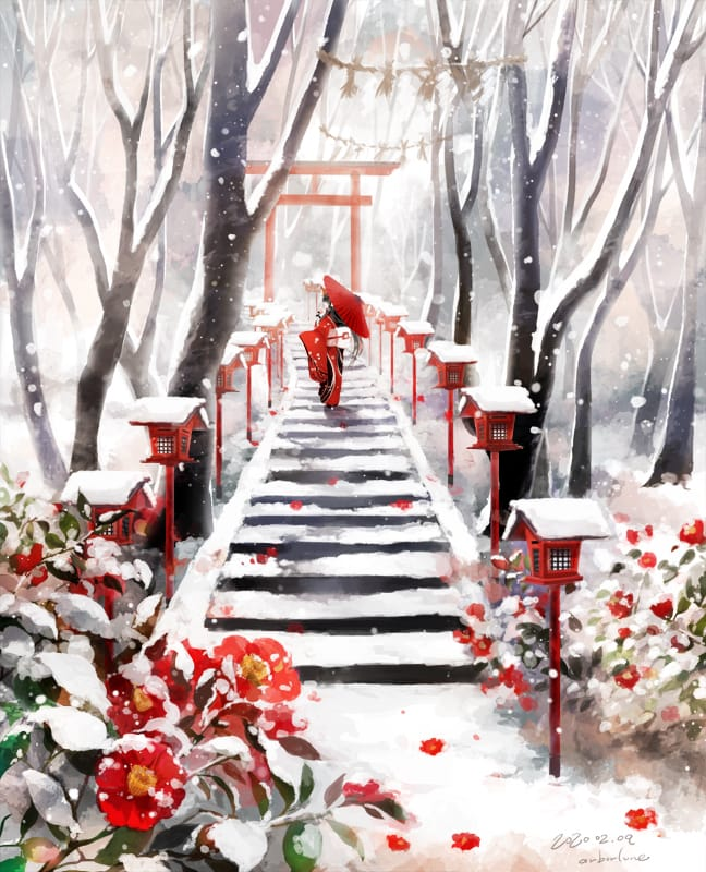 冬椿 Illust of 明月亭 椿 Japanese_style scenery 鳥居 background original winter snow