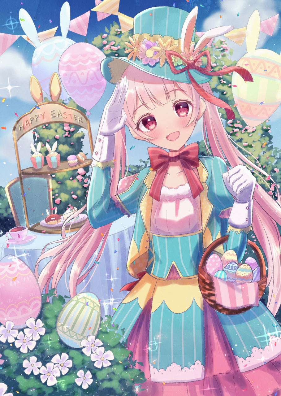 Happy easter! Illust of じゅにねう original twin_ponytails smile girl pinkhair
