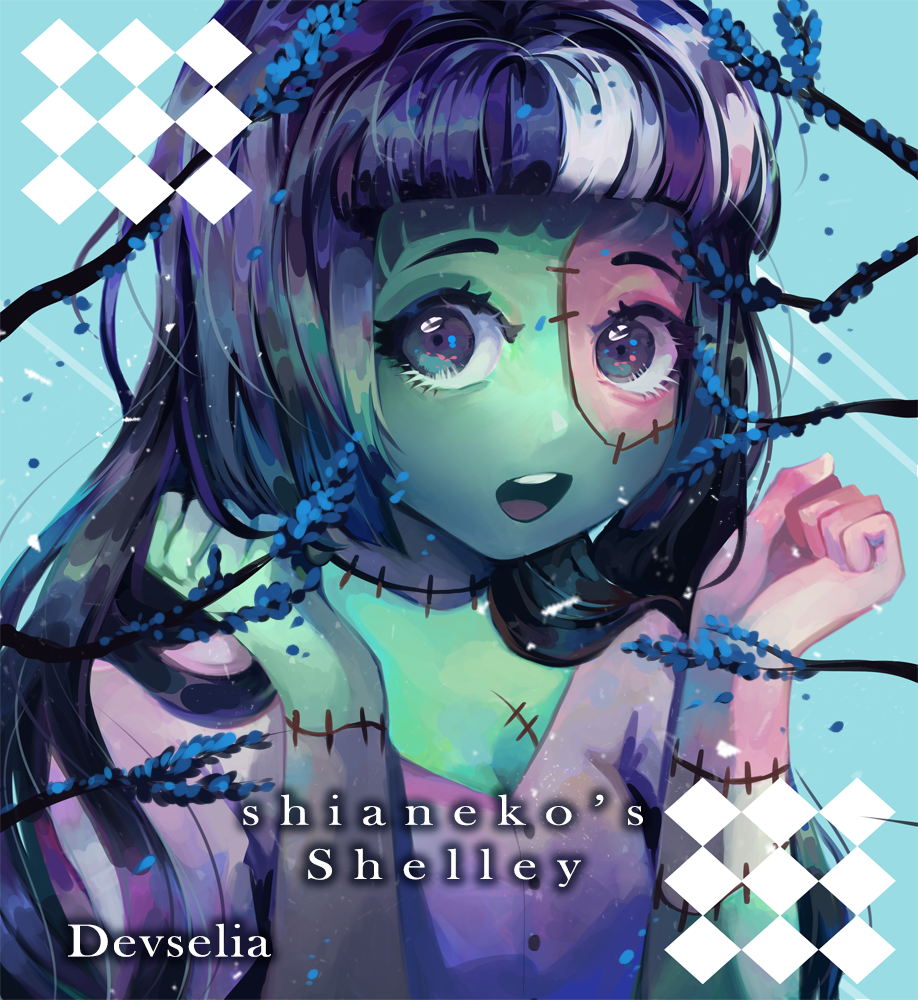 Shelly Illust of Devselia oc illustration giftart green monster cute monstergirl purple