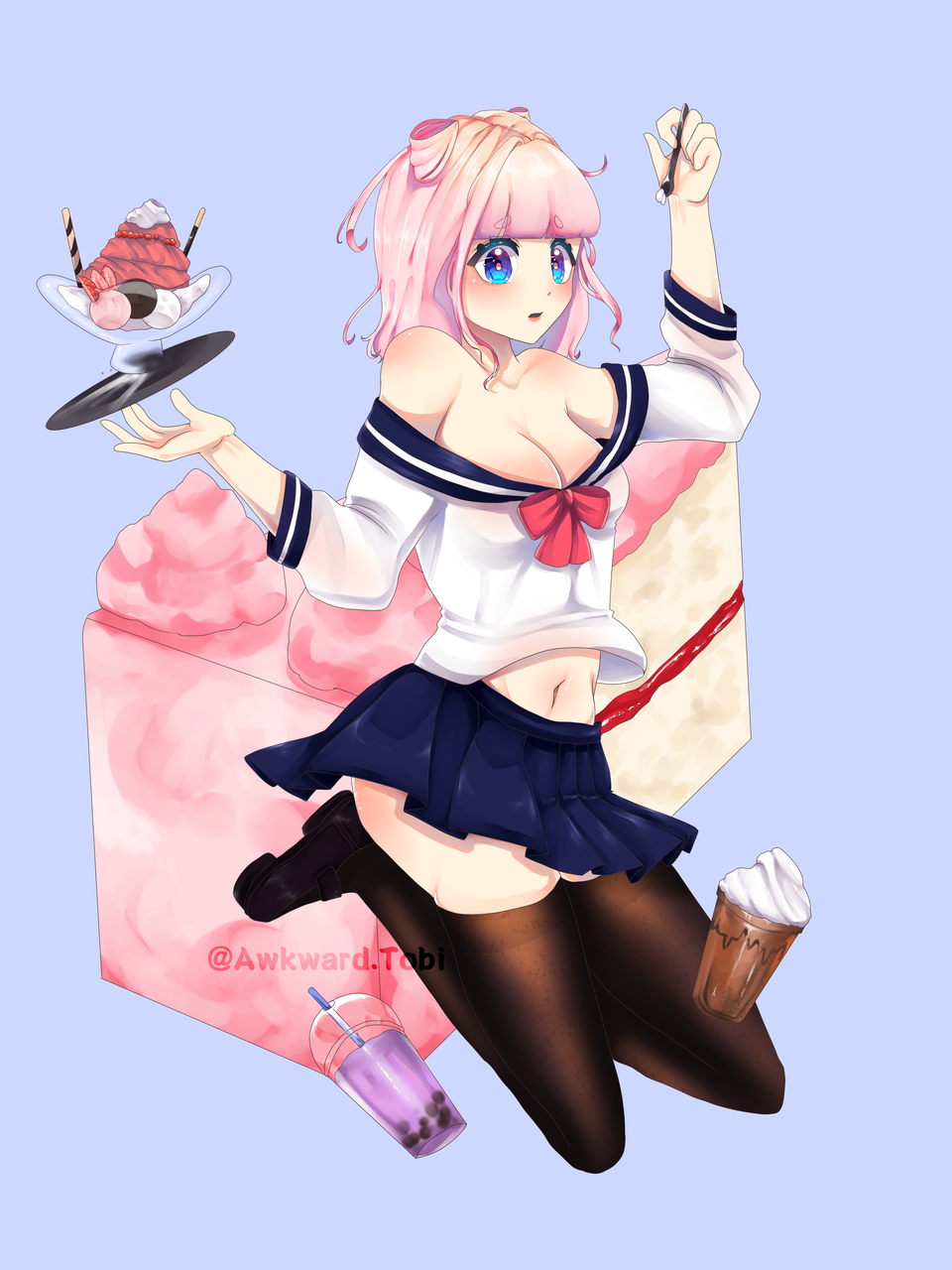 cafe addict Himari Illust of AwkwardTobi anime girl pastel illustration pastries