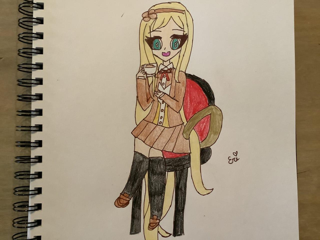 ☕️ Illust of Ɛɾì (ӄɨʏօӄօ Mσԃҽ)©️ animegirl ultimateprincess fanart chair Danganronpa superdanganronpa2 princess sonianevermind despair tea