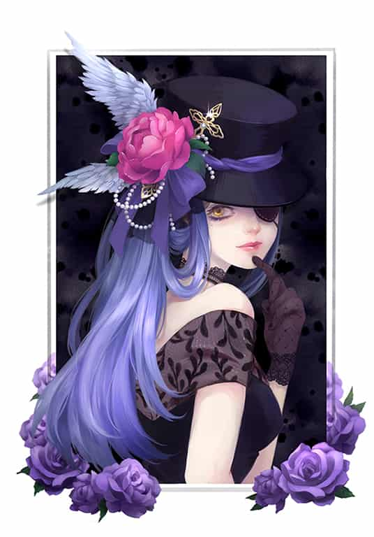 Lady Illust of wasenski eyepatch 帽子 hat rose 蕾絲
