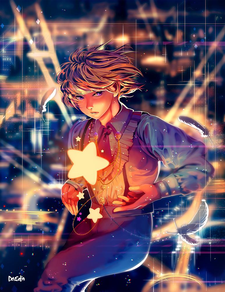 City Stars Illust of Devselia digital illustration MyArt star boy magic city commission