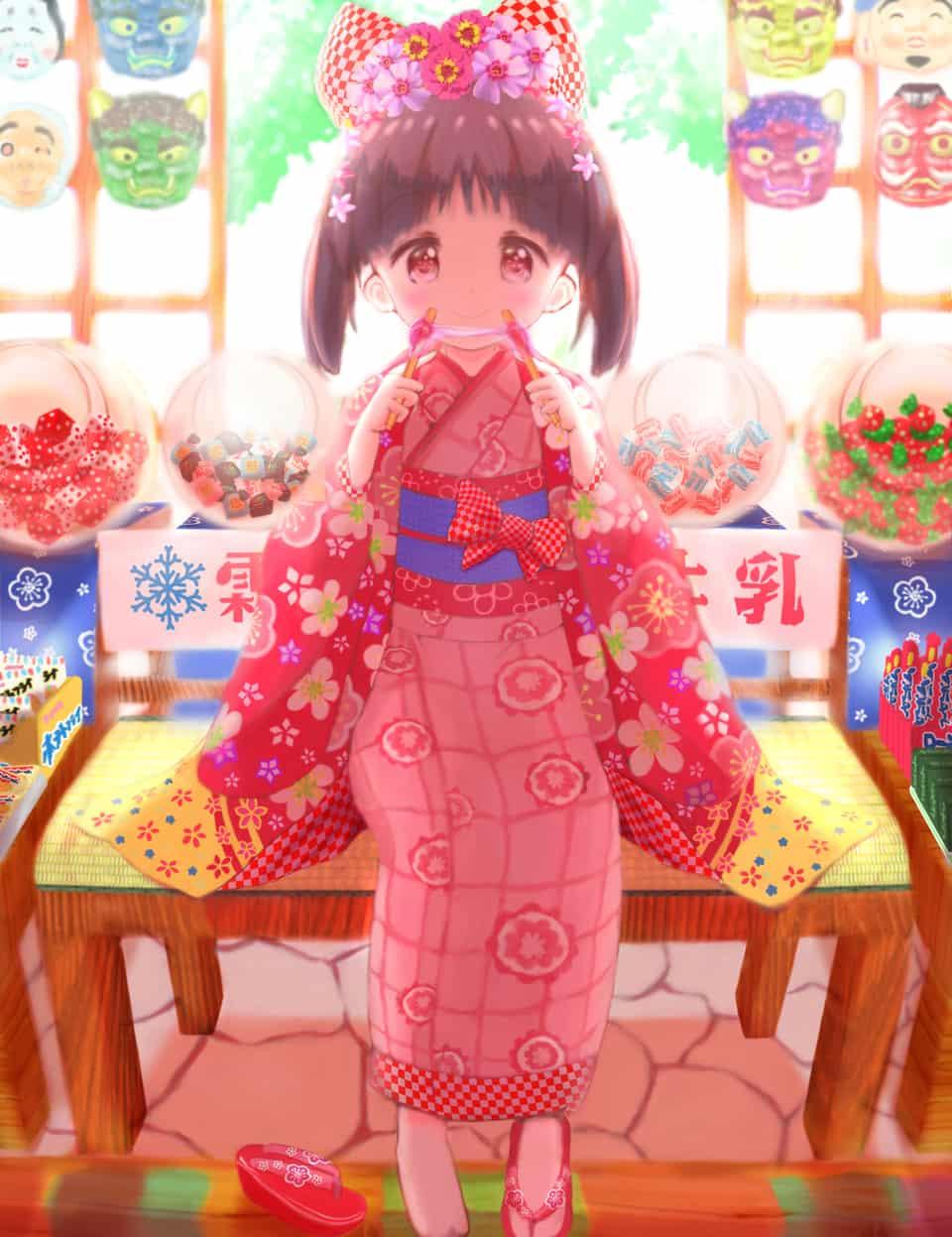 駄菓子屋の女の子 Illust of ひなげっぺい Kyoto_Award2020_illustration 駄菓子 kimono girl