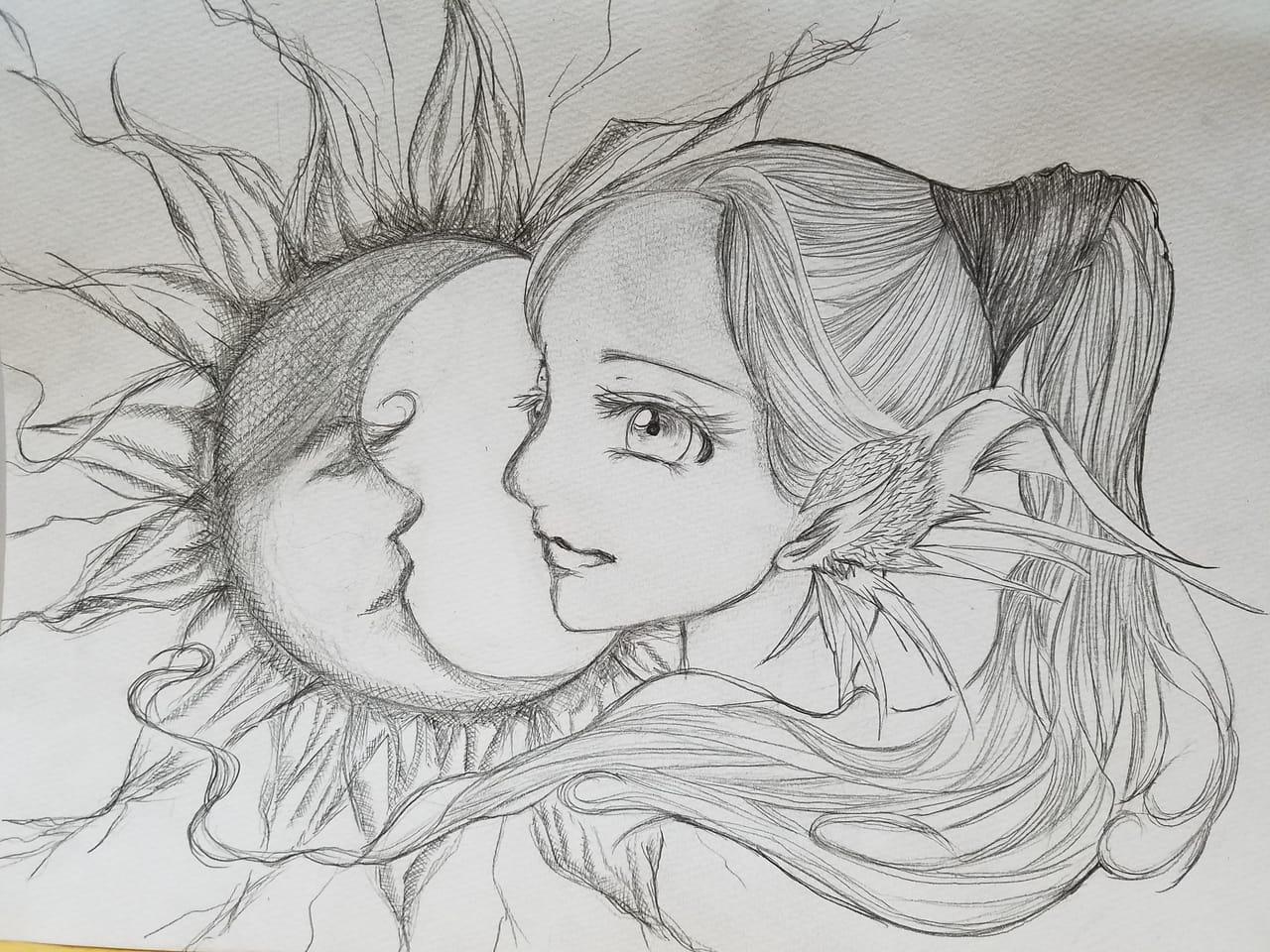 オリキャラ Illust of おかかうめ アナログ 下書き 鉛筆 oc sketch moon girl ファンタジー風 line_art doodle