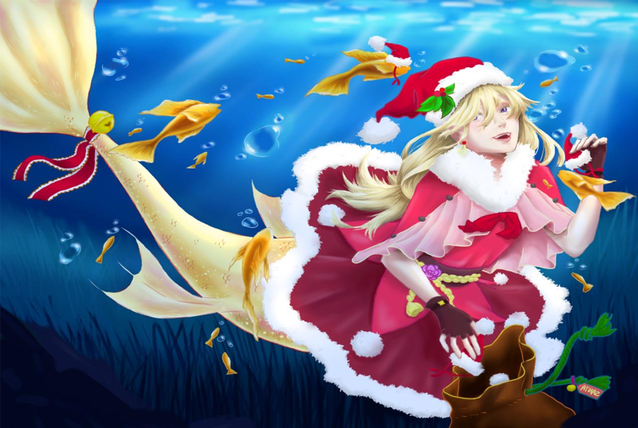 Mermaid Santa Illust of NightStarry ART_street_Illustration_Book_Contest mermaid illustration Santa ocean oc sea