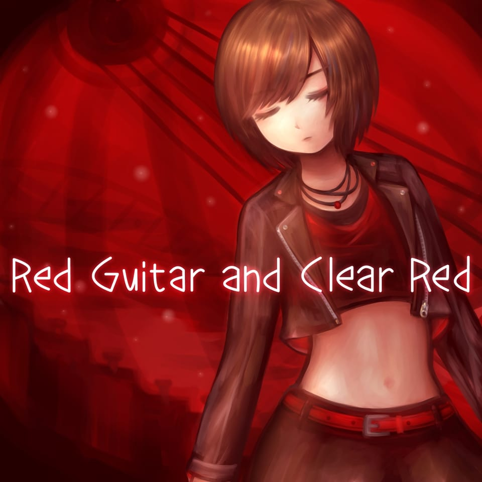 Red Guitar and Clear Red Illust of 夜明ほしこ ロック VOCALOID ジャケット MEIKO