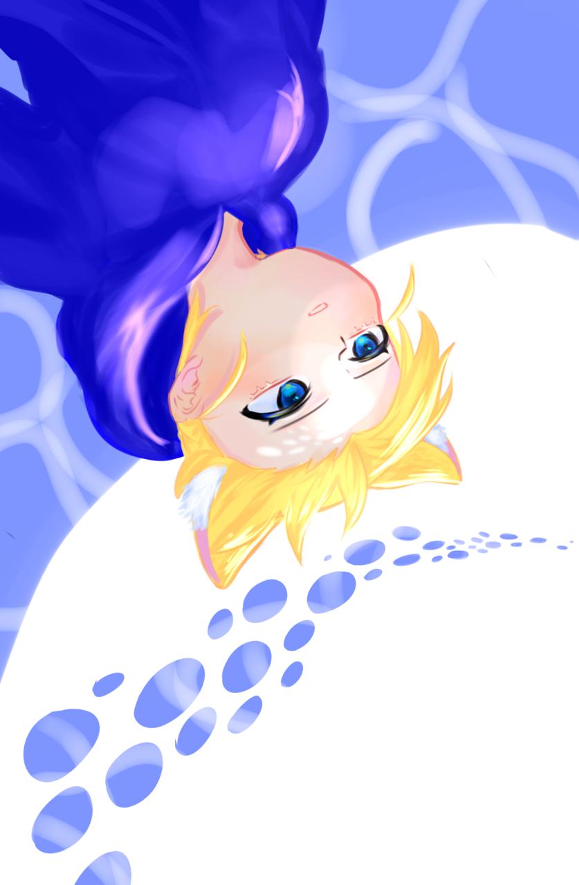 OHちゃんの待ち受け候補 Illust of ふよ cat_ears blue yellow 綺麗 OH