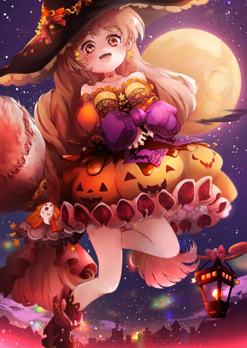 ハロウィン🎃かぼちゃエクレアぷりん Illust of ちびろぅё!!あっとまきゅん Oct.2019Contest girl スイーツ ハロウィンイラスト background witch カボチャ