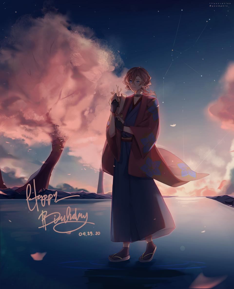 Chuuya Nakahara's Day Illust of Poompkin ARTstreet_Ranking medibangpaint illustration happybirthday Bungo_Stray_Dogs nakaharachuuya