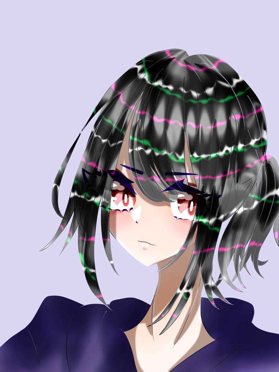 女の子ぉぉお!!!おぉおー!!! Illust of 如月来蕾 medibangpaint girl 紺 oc hoodie 醤油 black