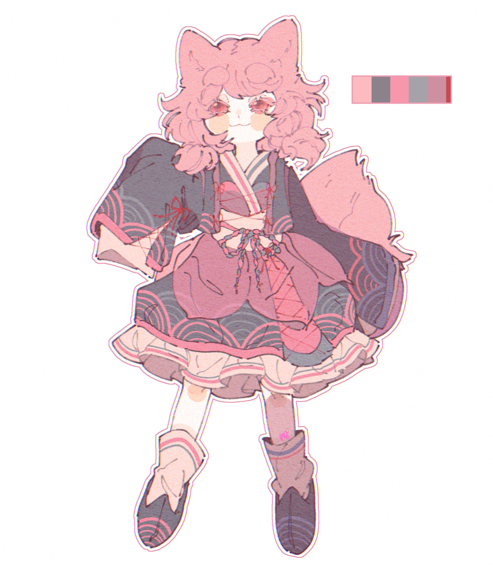 🦊💮 Illust of 우왕 September2020_Contest:Furry pink cat fox character girl characterdesign furry