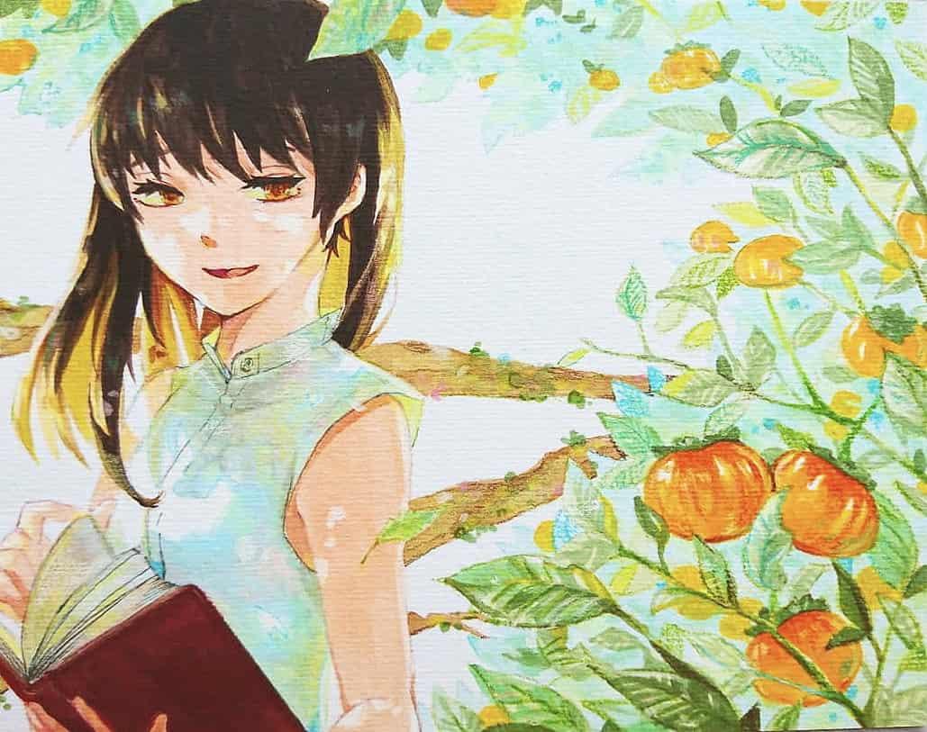 休日 Illust of 陳田こころ アナログ painting 木漏れ日 Copic girl oc illustration