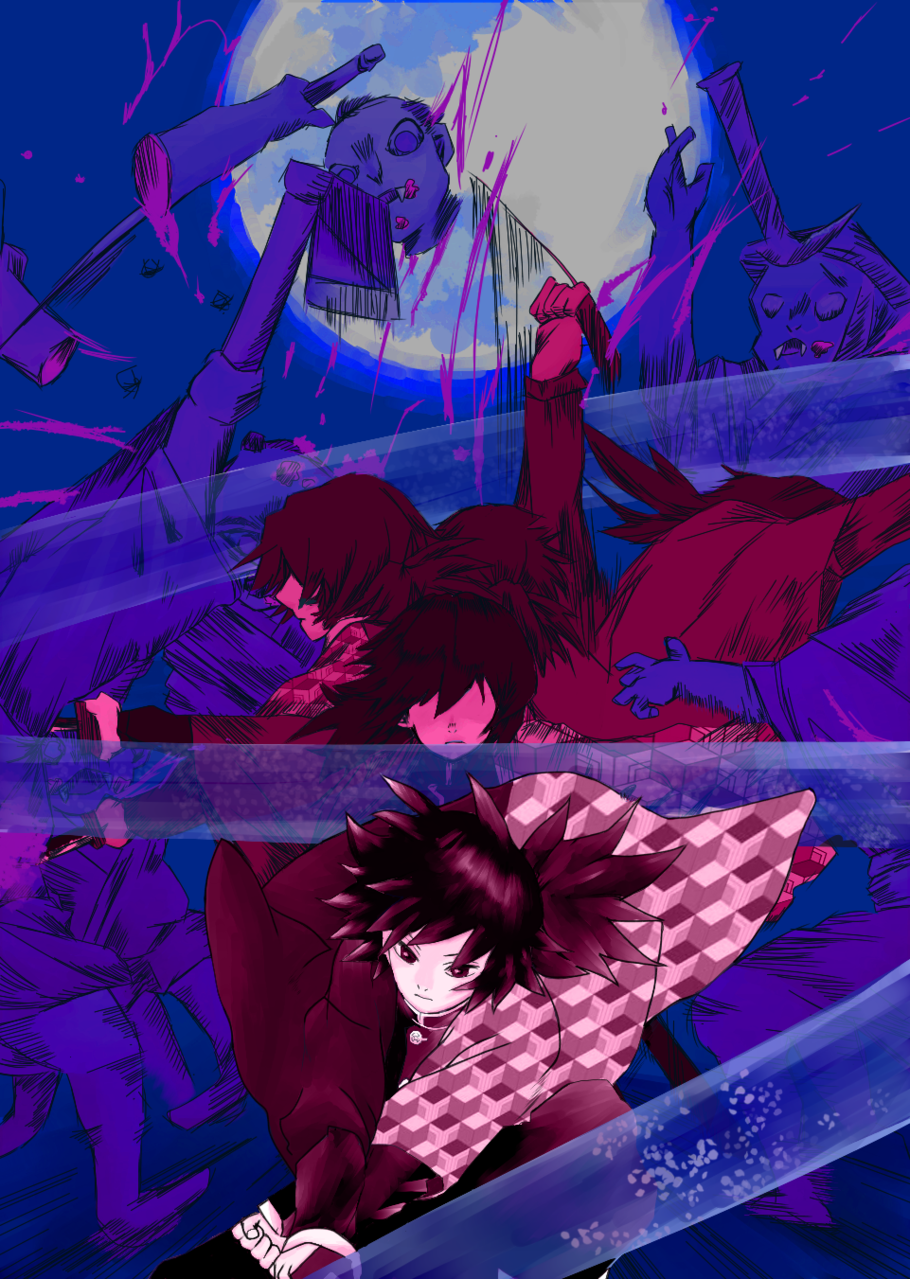 水の流れ Illust of 竹生 DemonSlayerFanartContest medibangpaint kimono night female