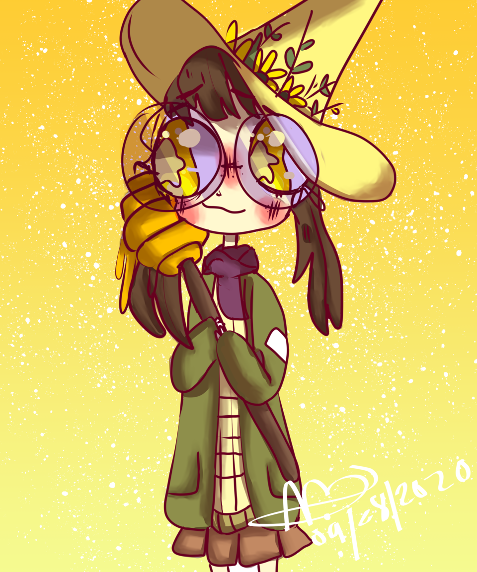 honey witch Illust of boiledsunflowers glasses witch aesthetic yellow anime CLIPSTUDIOPAINT autumn medibangpaint