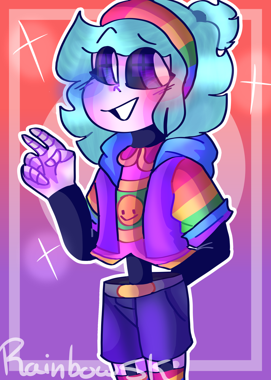 HallucinationTale Rainbow Illust of •Rainbow the Skeleton UwU• uwu oc Isabellaowo :D