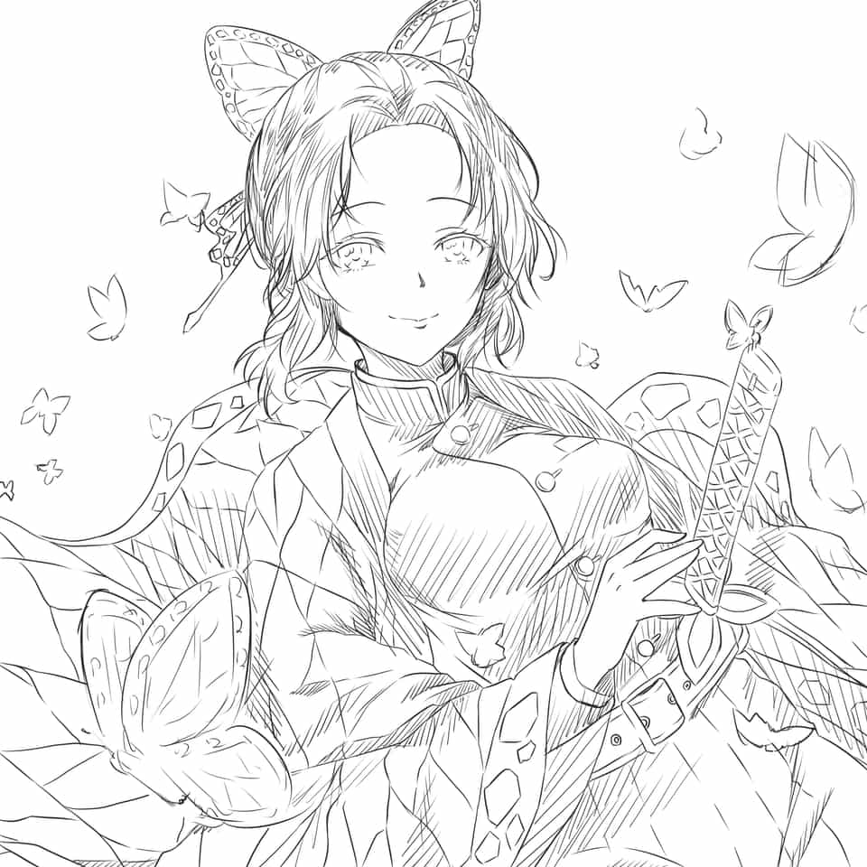 胡蝶しのぶ/鬼滅の刃 Illust of nemu KimetsunoYaiba doodle KochouShinobu roughsketch