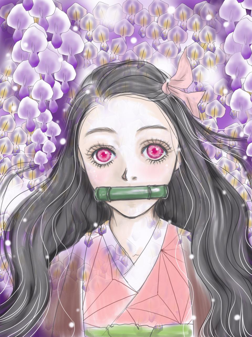 藤の花と禰豆子 Illust of akusha DemonSlayerFanartContest